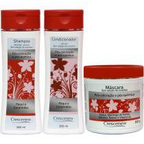 Shampoo, condicionador e máscara hidratante de pequi cabelos tintos - Crescenew