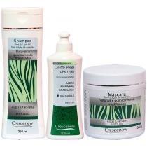 Shampoo, creme de pentear e máscara cabelo de algas gracilárias - Crescenew