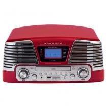 Sistema de Áudio Bluetooth com Toca-Discos 3 Rotações, FM, CD, Pendrive e SD Card (Reproduz e Grava) - Raveo