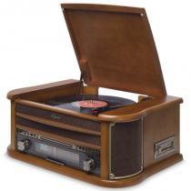 Sistema de Áudio com Toca-Discos de 3 Rotações, FM, CD, Cassete, USB (Reproduz e Grava) - Raveo