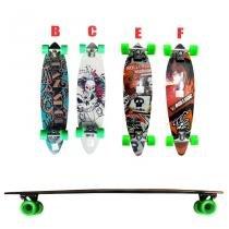 Skate longboard 91,5 truck blindado invert rodas 70 abec 9 - Branco e Vermelho (Modelo E) - Faciltec