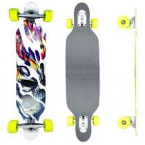 Skate Longboard Drop Thru Skull - 100cm - Truck Invertido Abec11 - Rodas Gel Speed 70mm 78A - Vitsports
