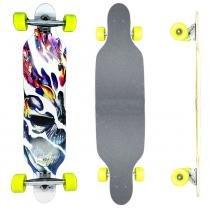 Skate Longboard Skull - 100cm - Truck Invertido Abec11 - Rodas Gel Speed 70mm 78A - Vitsports