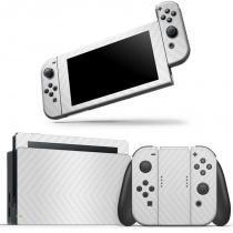 Skin Adesivo Protetor 4D Fibra de Carbono Nintendo Switch (Branco) - Skin t18