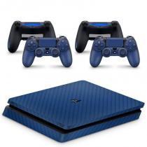 Skin Adesivo Protetor 4D Fibra de Carbono PS4 Slim (Azul) - Bd net
