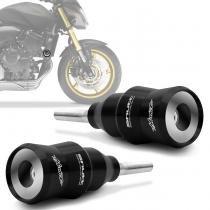 Slider Dianteiro Shutt Moto Honda Hornet 2008 a 2015 Preto Protetor de Motor Alumínio Par -