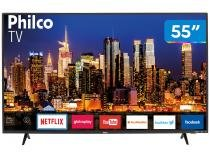 "Smart TV 4K LED 55"" Philco PTV55F62SN Wi-Fi HDR - Conversor Digital 3 HDMI 2 USB"