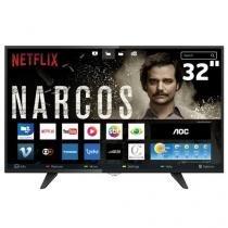 """Smart TV LED 32"""" AOC LE32S5970 HD com Wi-Fi 2 USB 3 HDMI TV Digital Controle com Botão Netflix"""