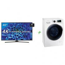 "Smart TV LED 40"" Samsung 4K/Ultra HD 40KU6000 - Conversor Digital Wi-Fi HDMI USB + Lava e Seca"
