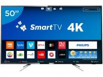 "Smart TV LED 50"" Philips 4K Ultra HD 50PUG6102/78 - Conversor Digital Wi-Fi 4 HDMI 2 USB DTVi"