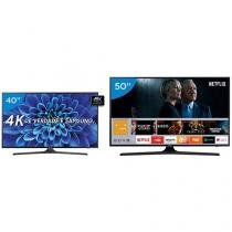 "Smart TV LED 50"" Samsung 4K/Ultra HD 50MU6100 - Conv. Digital + Smart TV LED 40"" Samsung"