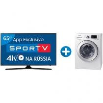 "Smart TV LED 65"" Samsung 4K/Ultra HD 65MU6100 - Conv. Digital + Lava e Seca Samsung 10,2kg WD4000"
