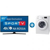"Smart TV LED 65"" Samsung 4K/Ultra HD 65MU6100 - Conv. Digital + Lava e Seca Samsung 8,5kg WD4000"