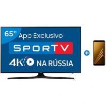 "Smart TV LED 65"" Samsung 4K/Ultra HD 65MU6100 - Conv. Digital + Smartphone Samsung Galaxy A8 64GB"