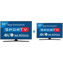 "Smart TV LED 65"" Samsung 4K/Ultra HD 65MU6100 - Conversor Digital + Smart TV LED 49"" Samsung"