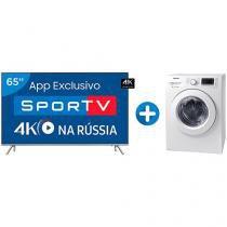 "Smart TV LED 65"" Samsung 4K/Ultra HD 65MU7000 - Conv. Digital + Lava e Seca Samsung 8,5kg WD4000"