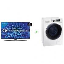"Smart TV LED 70"" Samsung 4K/Ultra HD 70KU6000 - Conversor Digital Wi-Fi + Lava e Seca 10,2Kg"