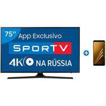 "Smart TV LED 75"" Samsung 4K/Ultra HD 75MU6100 - Conv. Digital + Smartphone Samsung Galaxy A8 64GB"
