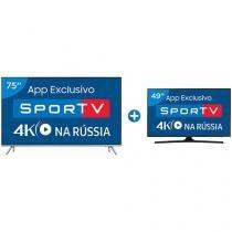 "Smart TV LED 75"" Samsung 4K/Ultra HD 75MU7000 - Conversor Digital Wi-Fi + Smart TV LED 49"" Samsung"