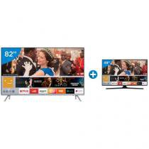 "Smart TV LED 82"" Samsung 4K/Ultra HD MU7000 - Tizen Conversor Digital + Smart TV LED 49"" Samsung"