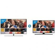 "Smart TV QLED 55"" Samsung 4K/Ultra HD 55Q7FAM - Conversor Digital Wi-Fi + Smart TV LED 43"" Samsung"