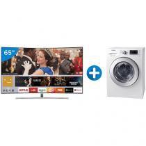 "Smart TV QLED Curva 65"" Samsung 4K/Ultra HD  - QN65Q8CAMGXZD + Lava e Seca Samsung 10,2kg WD4000"
