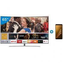 """Smart TV QLED Curva 65"""" Samsung 4K/Ultra HD - QN65Q8CAMGXZD + Smartphone Samsung Galaxy A8 64GB"""
