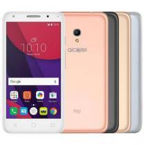 Smartphone Alcatel PIXI4 5 Metallic Dual Chip Android 6.0 Tela 5 8GB + 16GB (cartão SD) 4G Câmera 8MP Selfie 5MP Flash Frontal + 4 Capas Metálicas - Prata -