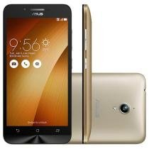 "Smartphone Asus ZenFone Go 16GB Dourado Dual Chip - 3G Câm. 8MP Tela 5"" HD Proc. Quad Core Android 5.0"