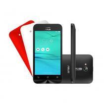 Smartphone Asus Zenfone GO Multi Colors Preto + 2 Capas Branca e Vermelha -