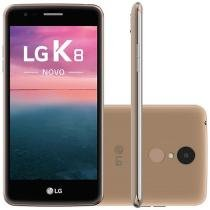 "Smartphone LG K8 Novo 16GB Dourado Dual Chip 4G - Câm. 13MP + Selfie 5MP Tela 5"" Proc. Quad Core"