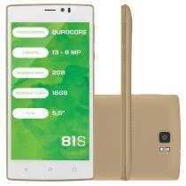 """Smartphone Mirage 81S 4g Quadcore 2GB Ram Dual Câmera 13mp+8mp Tela 5,5"""" Dual Chip Android 5 Dourado -"""