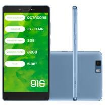 "Smartphone Mirage 91S 4G Octa Core 3GB RAM Dual Câmera 16+8MP Tela 5.85"" Dual Chip Android 6 Azul - Mirage"