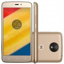 "Smartphone motorola moto c plus quad core 8gb dourado dual chip 4g câmera 8mp tela 5"" hd xt1726 -"