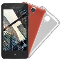 "Smartphone Multilaser MS45 Colors 8GB Preto - Dual Chip 3G Câm. 5MP Tela 4.5"" Proc. Quad Core"