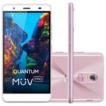 "Smartphone Quantum Müv Pro Q5 32GB Rosa Dual Chip - 4G Câm. 16MP + Frontal 8MP Flash 5.5"" HD Octa Core"
