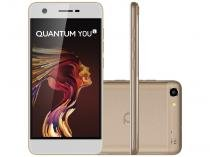 "Smartphone Quantum You L 32GB Dourado Dual Chip - 4G Câm. 13MP + Frontal 8MP 5"" HD Proc. Quad Core"