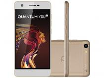 "Smartphone Quantum You Light 32GB Dourado - Dual Chip 4G Câm. 13MP + Frontal 8MP 5"" Quad Core"