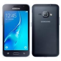 "Smartphone Samsung Galaxy J1 2016, Dual Chip, Preto, Tela 4.5"", 3G+WiFi, Android 5.1, 5MP, 8GB -"