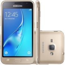 """Smartphone Samsung Galaxy J1 2016 Duos Dual Chip Android 5.1 Tela 4.5"""" Memória 8GB Wi-Fi 3G Câmera 5MP - Dourado -"""