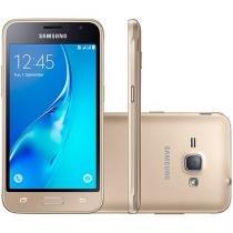 """Smartphone Samsung Galaxy J1 8GB Dourado Dual Chip - 4G Câm. 5MP Tela 4.5"""" Proc. Quad Core Desbl. Vivo"""