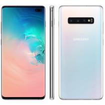 "Smartphone Samsung Galaxy S10+ 128GB Branco 4G - 8GB RAM 6,4"" Câm. Tripla + Câm. Selfie Dupla"