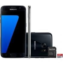 "Smartphone Samsung Galaxy S7 32GB Preto 4G - Câm. 12MP + Frontal 5MP Tela 5.1"" + Cartão 16GB"