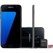 "Smartphone Samsung Galaxy S7 Edge 32GB Preto 4G - Câm. 12MP + Selfie 5MP Tela 5.5"" + Cartão 16GB"