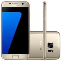 "Smartphone Samsung Galaxy S7 Flat 32GB Dourado - 4G Câm. 12MP + Selfie 5MP Tela 5.1"" Desbl. Claro"