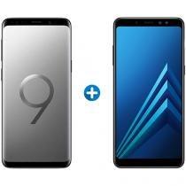 Smartphone Samsung Galaxy S9 128GB Cinza - 4G + Smartphone Samsung Galaxy A8+ 64GB