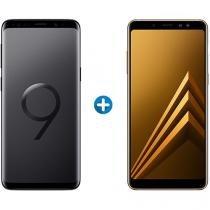 Smartphone Samsung Galaxy S9 128GB Preto 4G - Câm. 12MP + Smartphone Samsung Galaxy A8+ 64GB