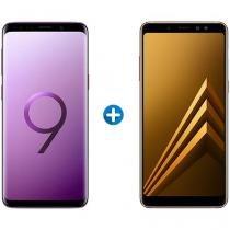 Smartphone Samsung Galaxy S9 128GB Ultravioleta 4G - Câm. 12MP + Smartphone Samsung Galaxy A8+ 64GB