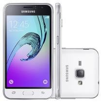 "Smartphone Samsung J1 8GB Branco Dual Chip 3G - Câm. 5MP Tela 4.5"" Proc. Quad Core Android 5.1"