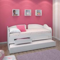 Sofá cama com cama auxiliar e 2 gavetas - branco - Ditalia